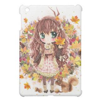 Autumn girl and cute squirell iPad mini cover