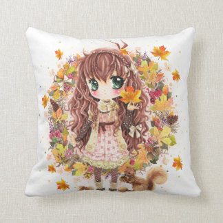 Autumn girl and cute squirell pillow