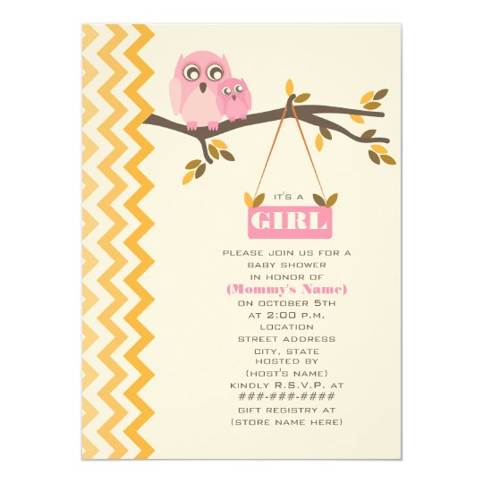 Autumn Girl Baby Shower Mommy & Baby Owl Card
