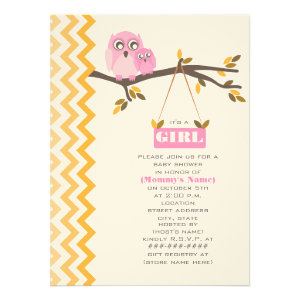 Autumn Girl Baby Shower Mommy & Baby Owl Personalized Invitations
