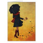 Autumn girl greeting cards