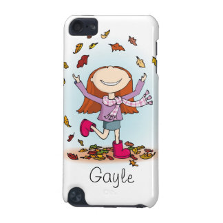 Autumn girl playing with leaves ipod touch case