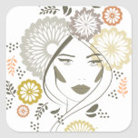 Autumn girl portrait square sticker