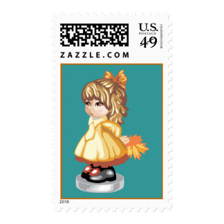 Autumn Girl Postage Stamps