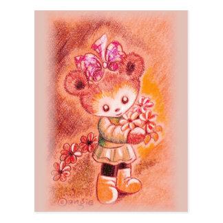 Autumn Girl Teddy Bear Postcard