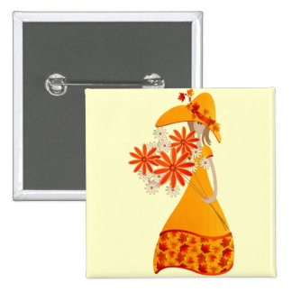 Autumn Girl with Fall Flowers 2 Inch Square Button
