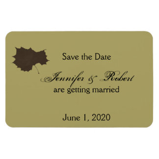Autumn Glamour Brown Gold Wedding Save the Date Magnet