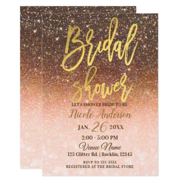 Halloween Themed Autumn Glitter Sparkle Gold Foil Bridal Shower Card