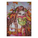 Autumn Goddess Harvest Moon Masquerade Notecard Stationery Note Card