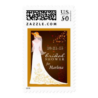 Autumn Gold Bridal Shower Invitation Stamps