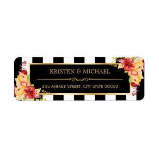 Autumn Gold Flowers Elegant Black White Stripes Label