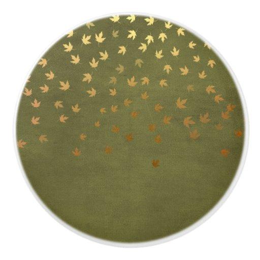 Autumn Gold Leaves Pattern Ceramic Knob Zazzle