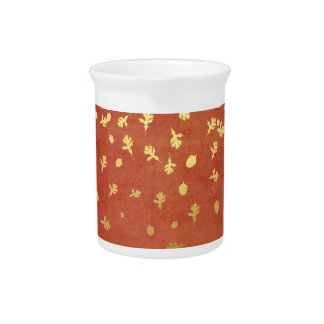 Autumn Gold Leaves Pattern Pitcher