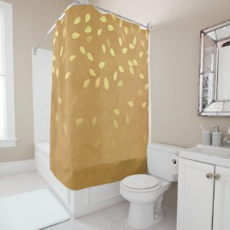 Autumn Gold Leaves Pattern Shower Curtain