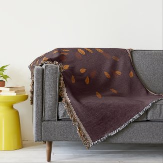 Autumn Gold Leaves Pattern Throw Blanket