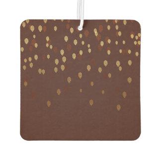 Autumn Gold Leaves/Pinecone Pattern Car Air Freshener