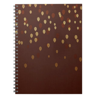 Autumn Gold Leaves/Pinecone Pattern Notebook