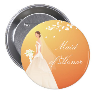 Autumn Gold Maid of Honor Bridal Party Button