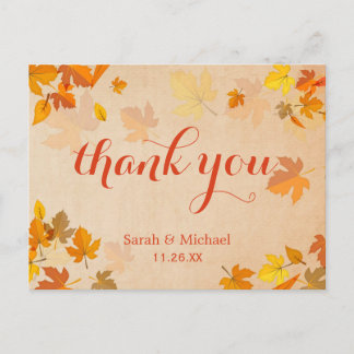 Autumn Gold Maple Leaves Thank You Postcard