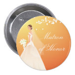 Autumn Gold Matron Honor Bridal Party Button