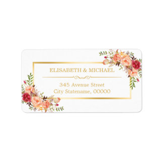Autumn Gold Orange Beautiful Chic Floral Decor Label