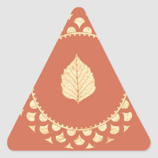 Autumn gold paper triangle sticker