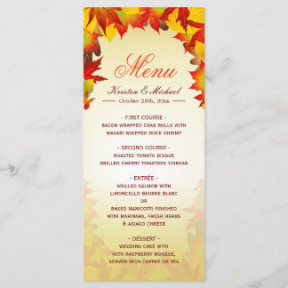 Autumn Gold Red Fall Leaves Wedding Menu Template