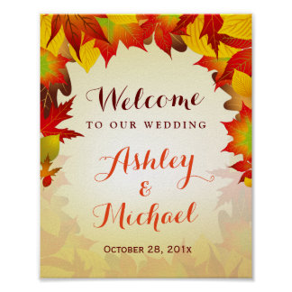 Autumn Gold Red Leaves Fall Wedding Reception Sign Poster