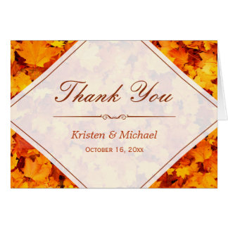 Autumn Gold Red Maple Leaves Thank You Card