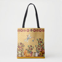 Autumn Gold Sunflower Yellow Country Prims Pumpkin Tote Bag