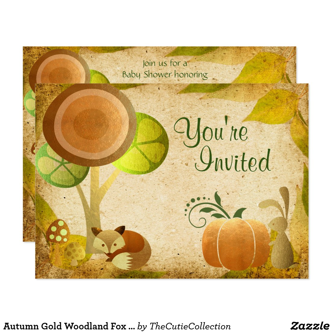 Autumn Gold Woodland Fox Bunny Baby Shower Invite