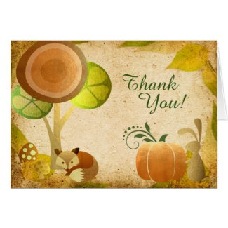 Autumn Gold Woodland Gold Fox n Bunny Thank You Card
