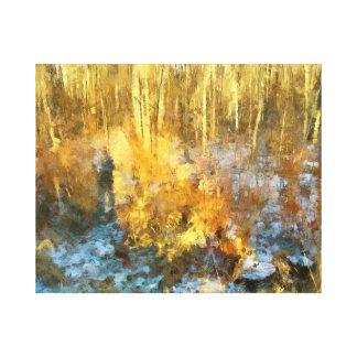 Autumn Gold Woods Landscape Canvas Print