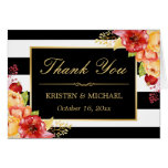 Autumn Gold Yellow Red Floral Stripes Thank You Card