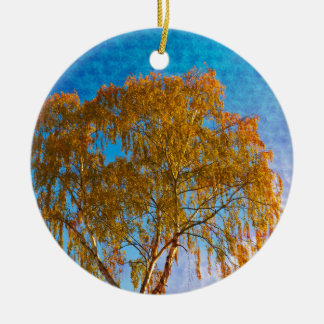 Autumn golden tree ceramic ornament