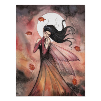Autumn Gothic Fairy Fantasy Art Poster