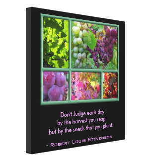 Autumn Grape Collage with Harvest Quote Canvas Print