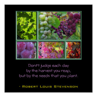 Autumn Grape Collage with Quote Poster
