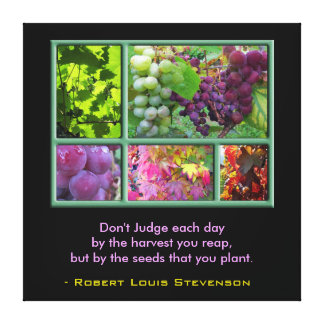 Autumn Grape Harvest with Quote Canvas Print