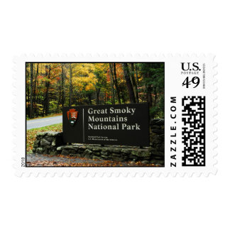 Autumn Great Smoky Mountains National Park Sign Stamp