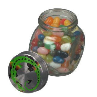 Autumn Green Coiled Dragon Glass Candy Jar
