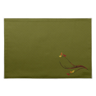 Autumn Green Plaid Leaves Placemats