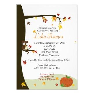 Autumn Halloween 5x7 Baby Shower Invite