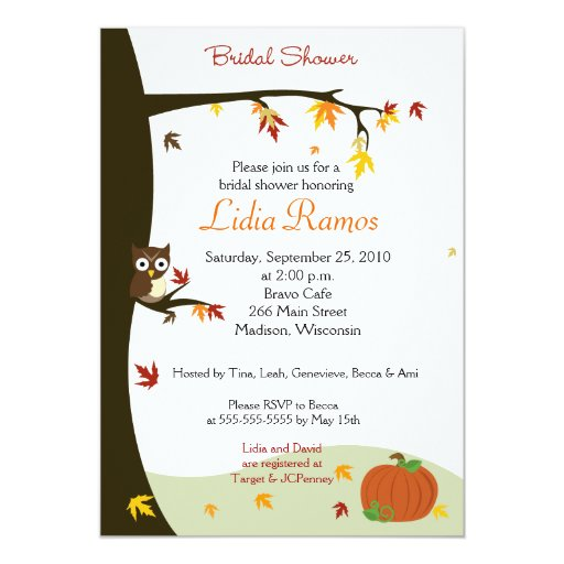 Autumn Halloween 5x7 Bridal Shower Invite