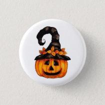 Autumn Halloween Jack-o-Lantern Pumpkin Button