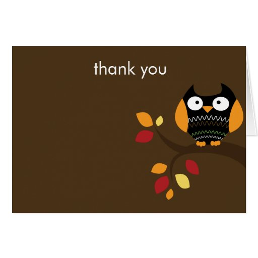 Autumn Halloween Owl Folded Thank you Note Card