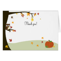 Autumn Halloween Owl Thank you Note Card