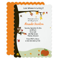 Autumn Halloween Owl Tree Birthday Invitation