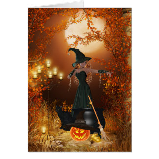 Autumn Halloween Witch Card
