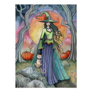Autumn Halloween Witch Cat Art Poster Print
